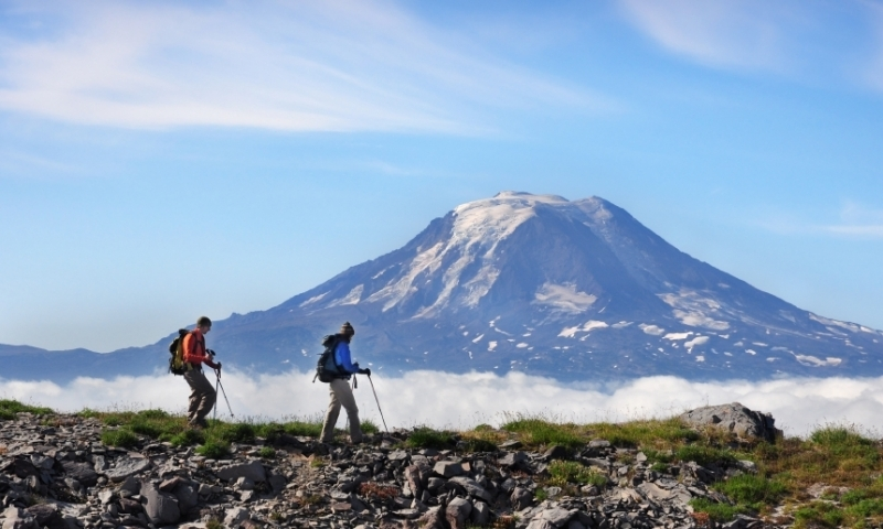 Hiking in front of Mount Adams