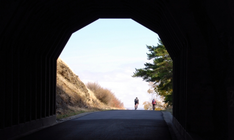 Biking through the Mosier Twin Tunnels