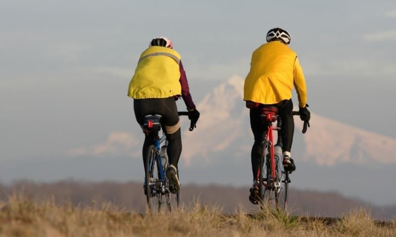 Mountain Biking toward Mount Hood