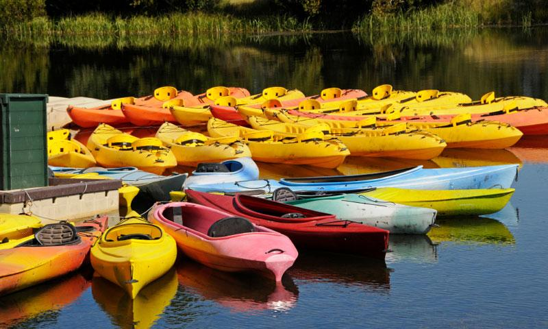 Kayaks for rent along the Deschutes River