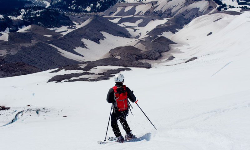 Backcountry Skiing into White River Canyon off Mount Hood