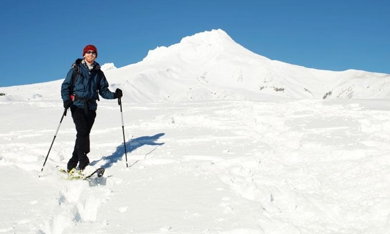 Snowshoeing in front of Mount Hood Oregon